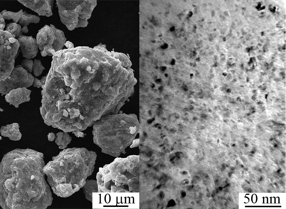 Mechanical alloying of titanium and niobium powders occurs under conditions of severe plastic deformation and leads to the formation of the alloy with nanosized structure. Upper limit of produced structure thermal stability is limited to 500°C.