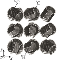 Crumpled graphene, consisting of randomly oriented graphene flakes, repeated along three x, y, z coordinate axes