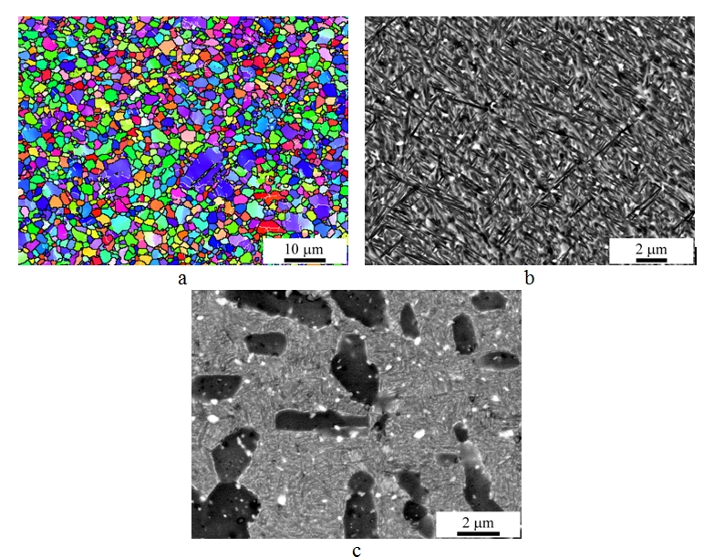 New two-phase VT8-based titanium alloy  and its mechanical properties are considered. Microstructure of the VT8-20Zr-0.1B alloy after multiple isothermal forging (a) subsequent quenching (b) and ageing (c) is shown on the figure.