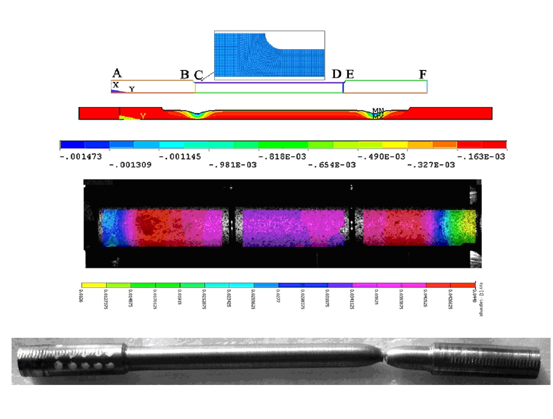 Numerical simulation of necking in tension cylindrical sample with simplified elastic-plastic material properties and large deformations. For experimental verification of the calculated data was carried out by sample testing tensile check deformations on the surface of the sample in real time by the method of digital image correlation.