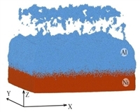 By the method of molecular dynamics the structural changes in Ni-Al bimetal particles during the passage of shock waves were studied. Investigated the possibility of forming pores near the interphase boundary metals and related effects.