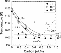 Review of actuality research on effect of high constant magnetic field on phase and structural transformations are presented. Figure show fragment of phase diagram Fe-C under magnetic field 10 or 18 T.