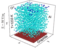 The movement of oxygen ions in the Al melts under action of a constant electric field is studied by molecular dynamics. The speed and intensity of oxygen ions movement across the melts depends on their concentration.