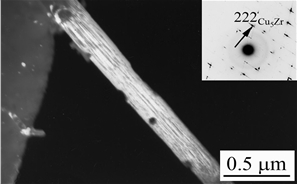 Rod–shaped  particle of Cu5Zr formed in Cu–0.21%Cr–0.20%Zr alloy after quenching and annealing at 700°C for 1 h. The particles consist of thin twin-like layers with a thickness of 6-7 nm. The ratio of atomic concentrations of copper and zirconium in this particle was 5.6 : 1 that is close to the stoichiometry of the equilibrium Cu5Zr phase