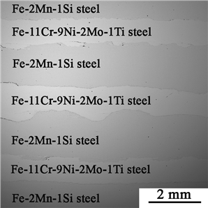 In the present paper, the microstructure and fracture resistance characteristics of 7-layered composites based on low carbon low alloyed steel 09G2S and maraging steel EP678, obtained by two different methods: explosion welding and hot pack rolling with subsequent heat treatment were investigated.