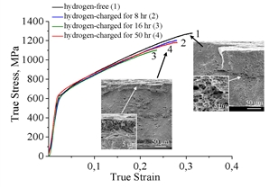 Hydrogenation leads to the formation of a gradient state in the steel Fe-17Cr-10Mn-7Ni-1V-0.09С-0.65N (wt.%): thin (<15 μm) brittle surface layer is formed on the side surfaces of the samples, which cracks during plastic flow; the central parts of the samples are destroyed in transgranular viscous mode similar to the samples destroyed without hydrogen charging. The thickness of the brittle surface layer increases and the character of the destruction changes with increasing duration of saturation of the samples with hydrogen in tension: from brittle mixed (transgranular and intergranular) after saturation for 8 and 16 hours to fully intergranular for 32-50 hours of hydrogen-charging.