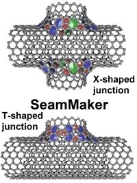 Предложен оригинальный алгоритм построения полноатомных моделей X- и Т-образных бесшовных соединений между одностенными углеродными нанотрубками различной киральности и осуществелена его программная реализация в пакете SeamMaker.