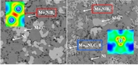 We obtain a decreasing of hardness with increasing the fracture toughness of  Mo2NiB2 -  Ni cermets because of the formation of Mo10Ni3C3B phase. A comparative analysis of electronic structure showed relatively low hardness as well as higher plasticity of Mo10Ni3C3B  compared to  Mo2NiB2 boride due to more isotropic character of interatomic bonding.