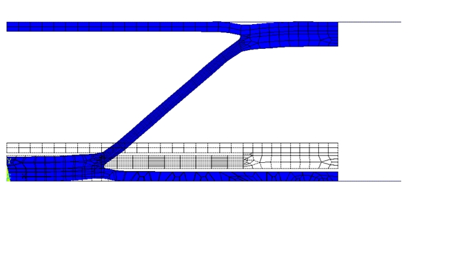Finite element mesh for a corrugated core panel at the initial and final positions is shown. The way to ensure the formation of a corrugated core panel without external folds by the selection of technological parameters of the SPF process is considered.
