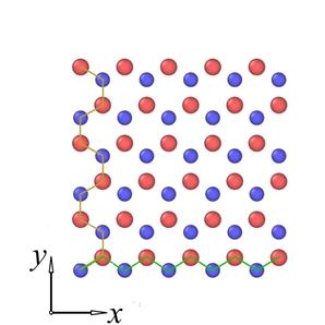 Schematic representation of boron nitride composed of nitrogen (red) and boron (blue) atoms.