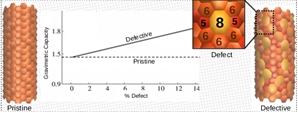 A defective nanotube containing 5 and 8 -membered rings shows the highest adsorption capacity of 1.82 %wt/wt which is higher than the pristine nanotube and the adsorption capacity increases with %defect.