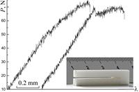 Фазовая трансформация типа t → m определяет неупругую стадию деформации керамики на основе диоксида циркония, стабилизированного добавками оксида иттрия. Максимум силы прогиба консолей двухконсольного образца с шевронным надрезом, испытанного расклиниванием, определяет критические характеристики трещиностойкости керамики ZrO2 + 3mol%Y2O3: скорости высвобождения энергии Gc при распространении трещины (удельной энергии разрушения) и коэффициента интенсивности напряжений KIc. Максимальная вязкость характерна для керамики состава ZrO2 + 3mol%Y2O3, отклонение от которого уменьшает показатели трещиностойкости. Повышению трещиностойкости благоприятствует измельчение порошка на планетарной мельнице.