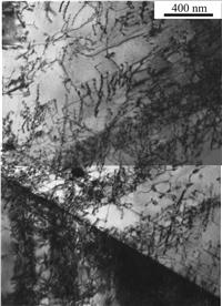При ударно-волновом нагружении со скоростью 471 м/с при 20 °С наблюдается фазовый наклеп аустенита в результате циклического γ → ε → γ превращения, проявляющийся в виде повышенной плотности дислокаций (2 × 1010 см-2) на месте бывших кристаллов ε-мартенсита.