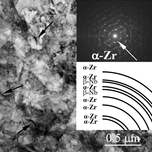 Combined SPD method including multiple abc-pressing and multi-pass rolling resulted in the formation of  two-phase ultrafine-grained binary Zr-1Nb alloy structure, where the average alloy structural elements size was 0.22 µm. Ultrafine-grained alloy included high level of mechanical properties (yield strength – 450 MPa, ultimate tensile strength – 780 MPa, microhardness – 2800 MPa) at low elastic modulus (51 GPa).