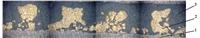 Микрофотография поперечного разреза ЛМФМ-Pb с пористым бронзовым слоем, имеющим «столбчатую» структуру: 1 – стальная основа, 2 – шип припеченного слоя бронзы, 3 – ПТФЭ-композиция.