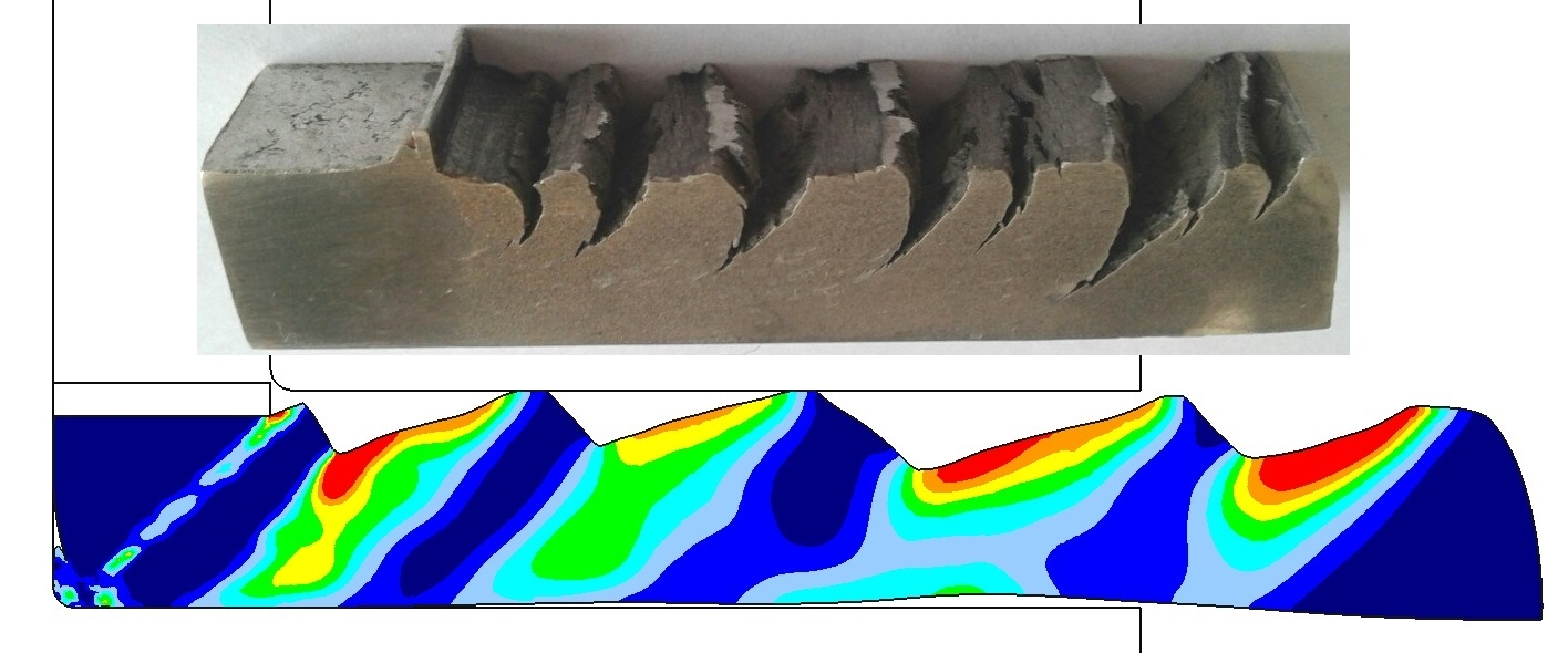 Finite element modeling performed in the software product DEFORM-2D accurately predicts the nature of failure at equal-channel angular pressing of Sn11Sb5.5Cu babbitt with different microstructure.
